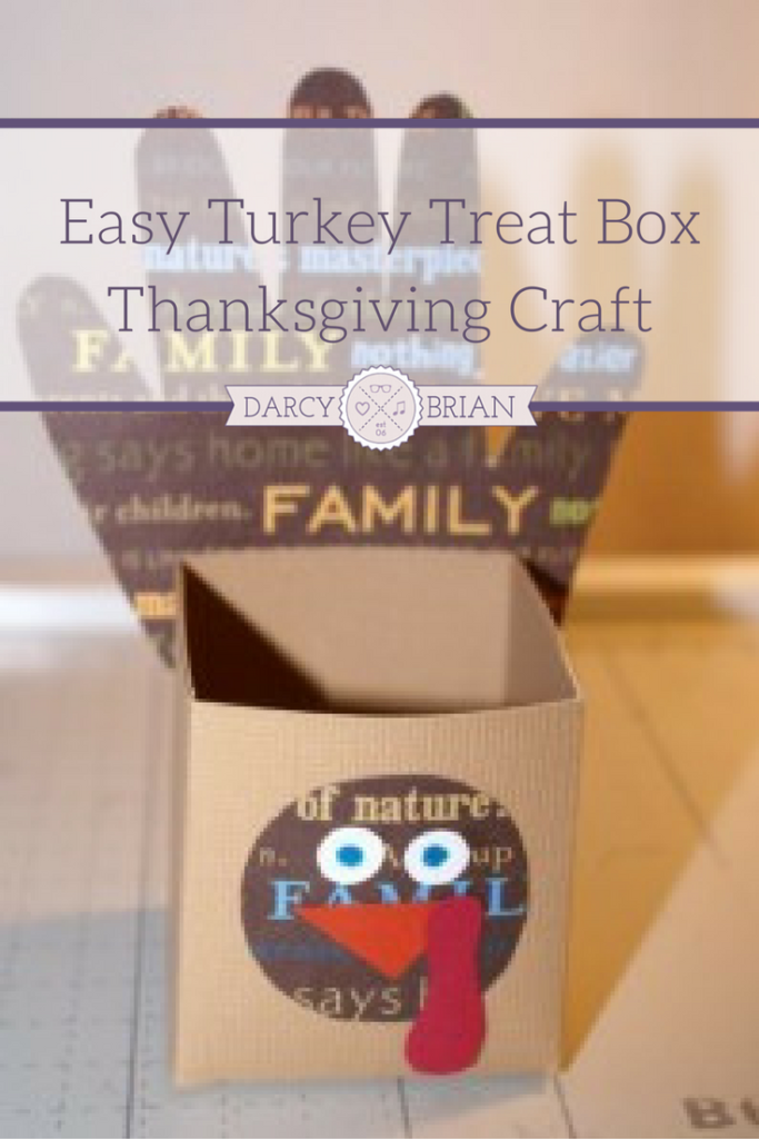 Surprise your dinner guests with this adorable Thanksgiving Turkey Treat Box. This craft project is easy to make and takes about 15 minutes. Have the kids help by tracing their hands! They will love this fun kids craft and filling it with sweets and treats for friends and family. Fun idea for a Thanksgiving classroom project too!