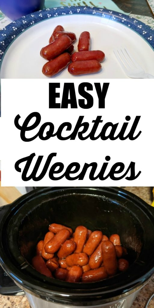collage of cocktail weenies on plate and cooking in slow cooker with text overlay.