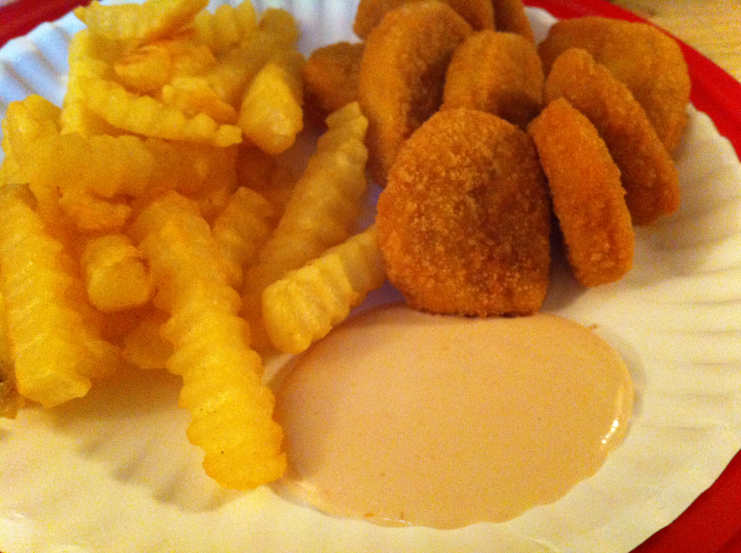 tyson chicken nuggets ore ida fries and dipping sauce