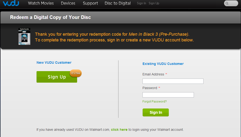 Enter your code below to redeem your free $5 movie credit from VUDU. Submit. Next, sign in or sign up for a VUDU account. Remember to complete all fields and steps. Start watching. Now use your $5 credit to rent or buy whatever you like on VUDU. Anything over $5 .