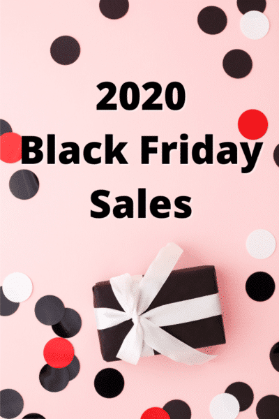 Black text reads 2020 Black Friday Sales on a pink background with a black gift with a white bow and large circle confetti in black, white, and red.