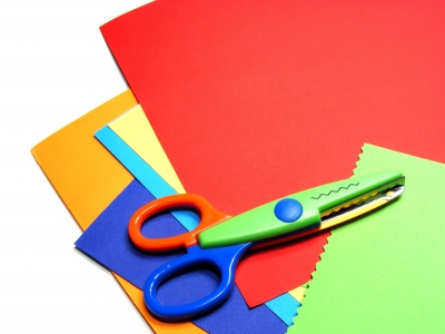 craft supplies colored card stock and scissors