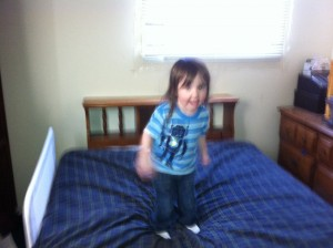 1 little monkey jumping on the bed...