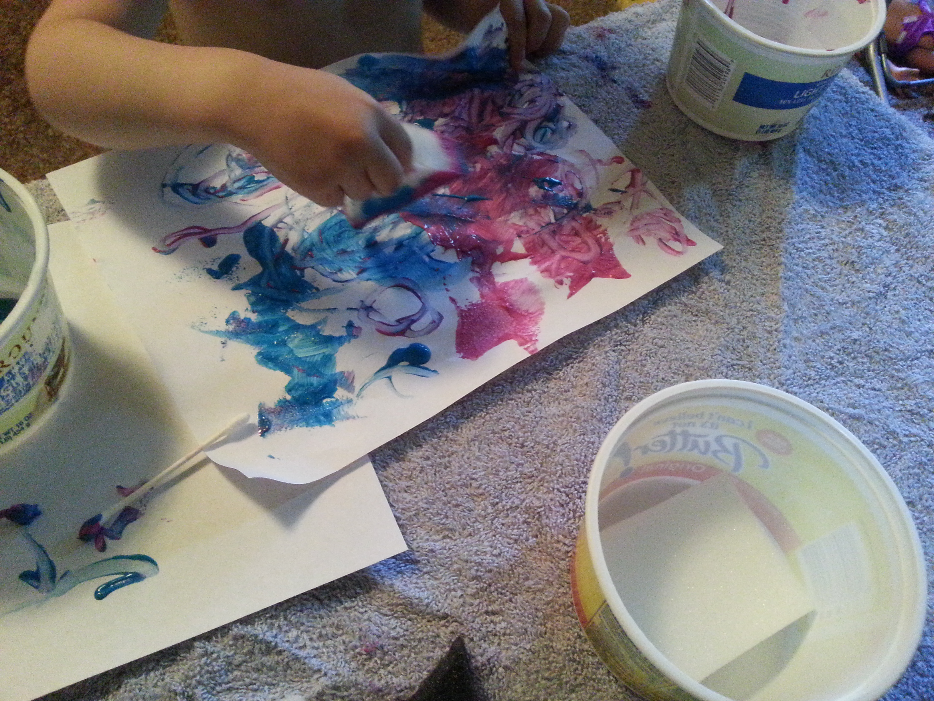 Sponge and cotton swab painting.