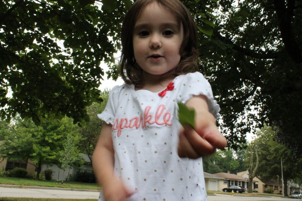 toddler girl holding leaf