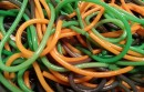 green, orange and purple spaghetti
