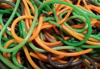 green, orange and purple spaghetti
