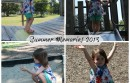 collage of toddler girl at park