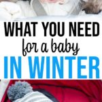 Collage of two images featuring smiling babies in strollers wearing winter gear.