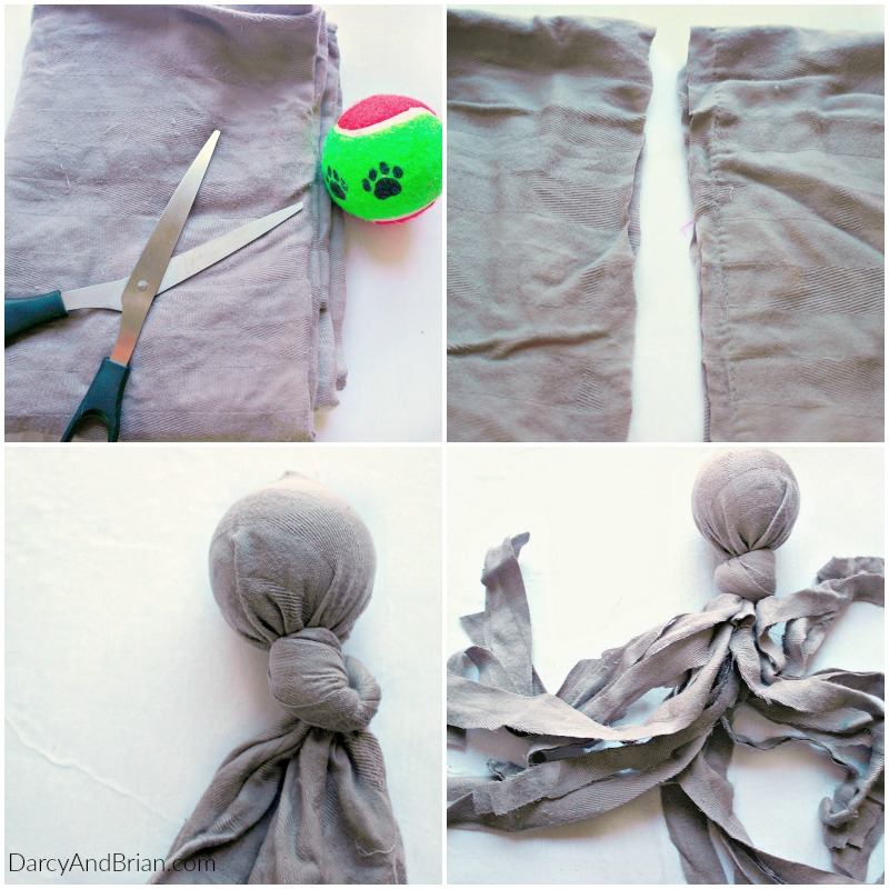 This DIY dog toy is made with an old pillowcase and a tennis ball. Super easy to make!