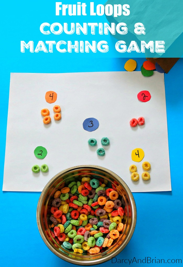 Teaching kids is fun and easy with this simple Fruit Loop Homemade Counting & Matching Game! Grab supplies and have fun with your kids!