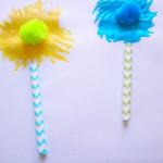 This Truffula Tree craft is easy for kids to make with paint, straws, and pom poms.