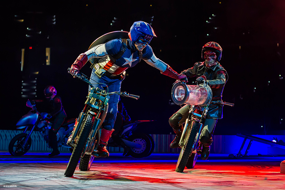 Captain America and Red Skull battle it out as they race their motorcycles around during Marvel Universe Live!