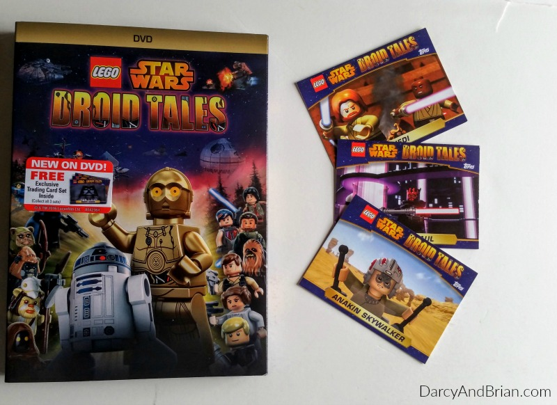 The LEGO Star Wars Droid Tales DVD features five full episodes and comes with trading cards.