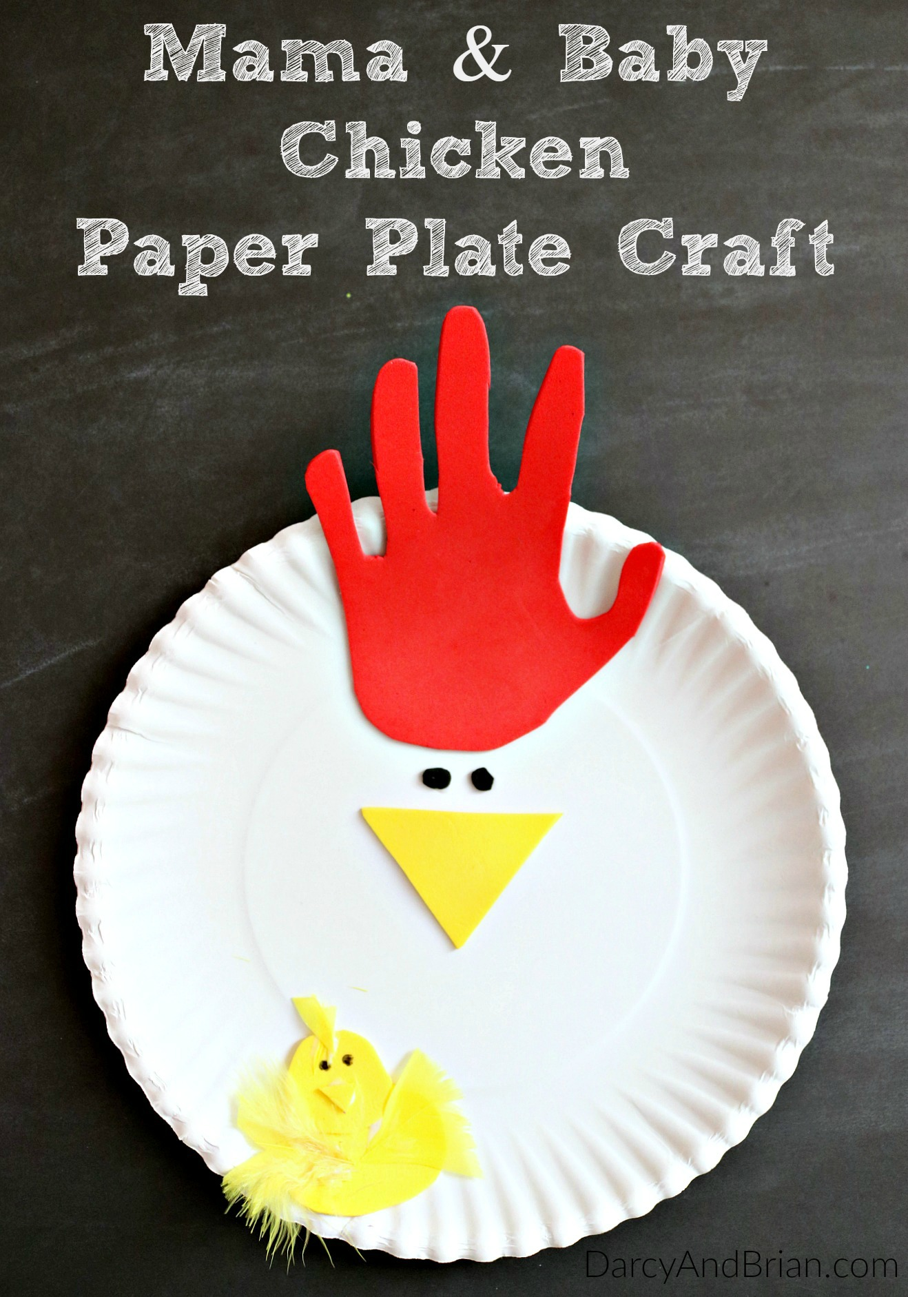 Hand tracing chicken paper plate craft for Easy paper plate crafts