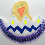 Adorable Hatching Chicken paper plate spring craft.