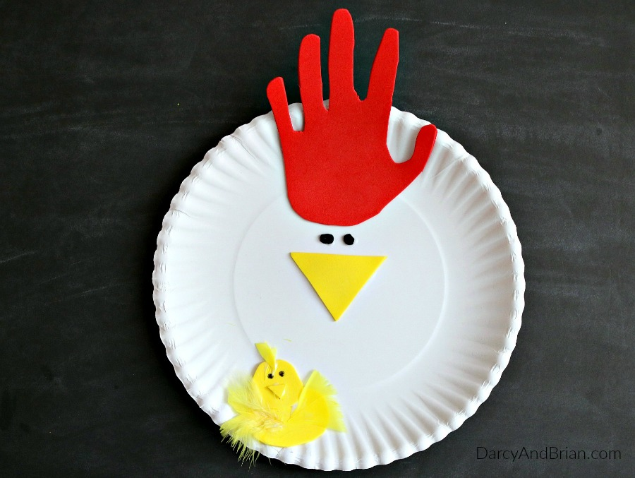 & Hand Tracing Chicken Paper Plate Craft