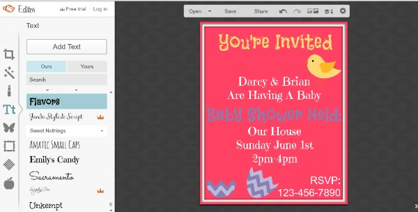 Free Baby Shower Invitations Step 5