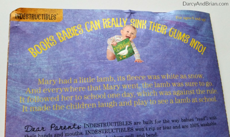 Indestructibles books are made to withstand babies pulling and gumming.