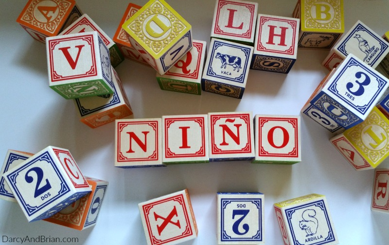 Spanish Foreign Language wooden blocks for babies. Great gift idea!