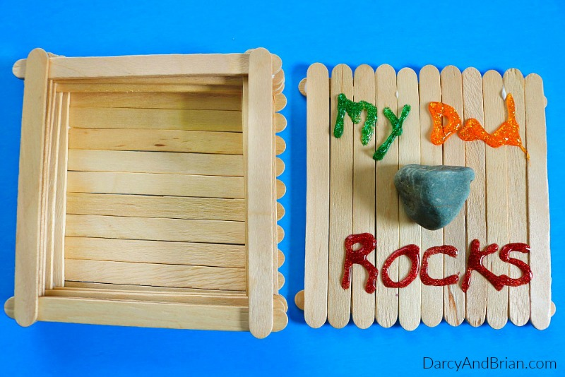 Learn how to make this keepsake box with your kids for a homemade Father's Day gift. It's an easy popsicle stick craft for kids!