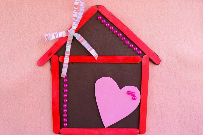 Home Is Where The Heart Is Magnet Popsicle Stick Craft For Kids