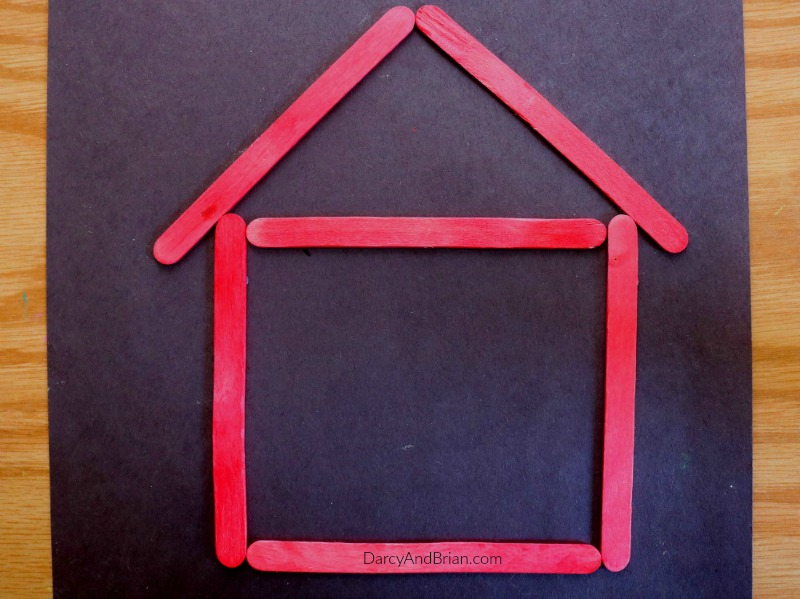 How to make a popsicle stick house magnet with the kids.