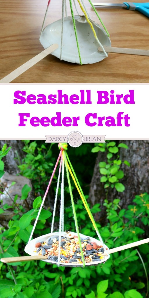 How to make a shell bird feeder craft for kids for Bird seed glue recipe