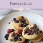Looking for a delicious fall breakfast recipe? Make these quick and easy Pumpkin Chocolate Chip Pancake Bites. They are kid-friendly and perfect for busy school mornings!