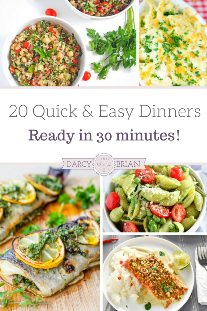 These quick and easy dinners are perfect for busy nights. These easy recipes are ready in about 30 minutes. There are a variety of recipes to choose from: pasta recipes, chicken recipes, and seafood recipes. From prep to table, you're sure to find a new family favorite in this list of 30 minute dinner recipes!