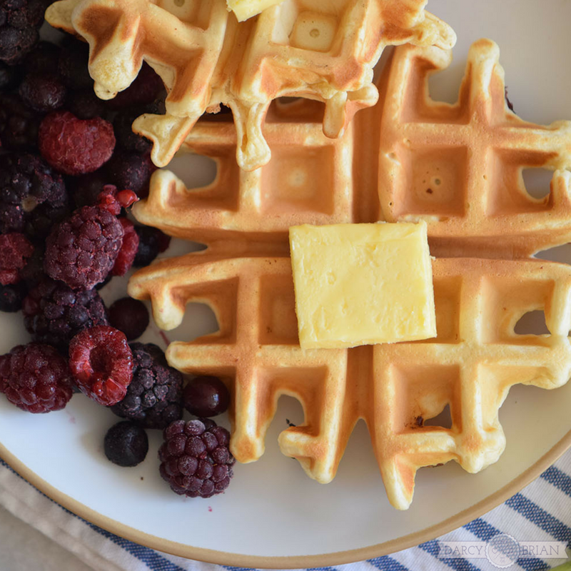 Make everyone's favorite breakfast treat with this easy Buttermilk Waffle Recipe with blackberries. Delicious, easy, and classic! Your family will love this simple homemade waffles recipe that cooks up in minutes in your waffle maker.