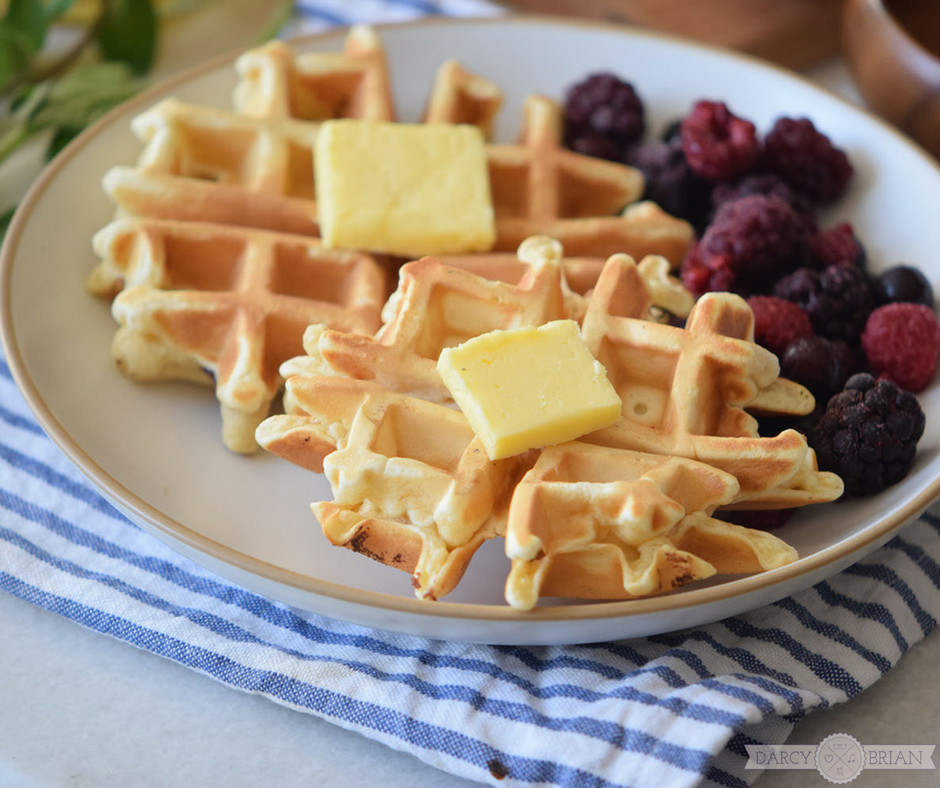 Easy Homemade Buttermilk Waffle Recipe with Blackberries