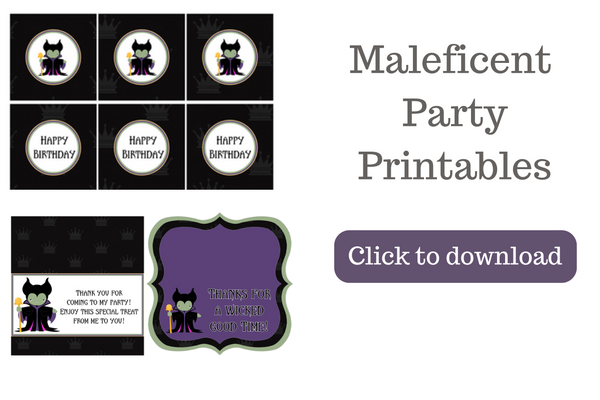 Want to throw a Maleficent themed party? These Maleficent party printables are perfect for a kids birthday party or a Halloween party for kids. This party pack includes invitations, thank you cards, cupcake toppers, water bottle wrappers, treat bag toppers, and more.