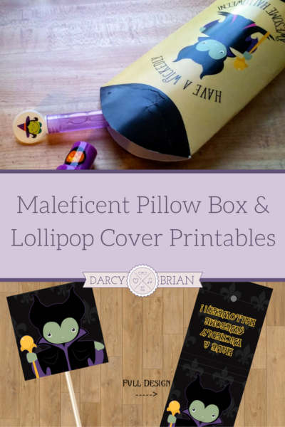 These Maleficent lollipop covers and pillow box printables are perfect for handing out Halloween candy. Need a last minute treat box to hand out for a classroom party? Or want to dress up suckers for a cute party favor? Have a wicked good time with these Maleficent printables!