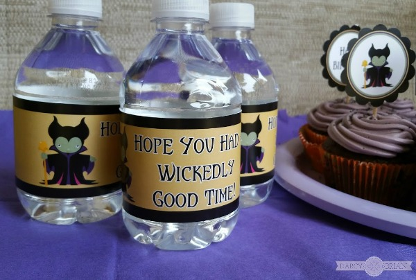 Water bottle labels for a Maleficent themed party.