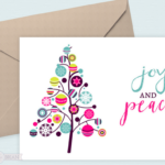Print this Joy and Peace Christmas card out at home and send to your family and friends for the holidays.