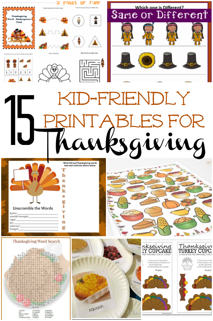 Free Thanksgiving Printables are just what you need to keep kids happy while you cook the turkey. Check out our list of 15 Kid-Friendly Thanksgiving Printables featuring fun activities like I Spy, coloring pages, easy crafts and more!