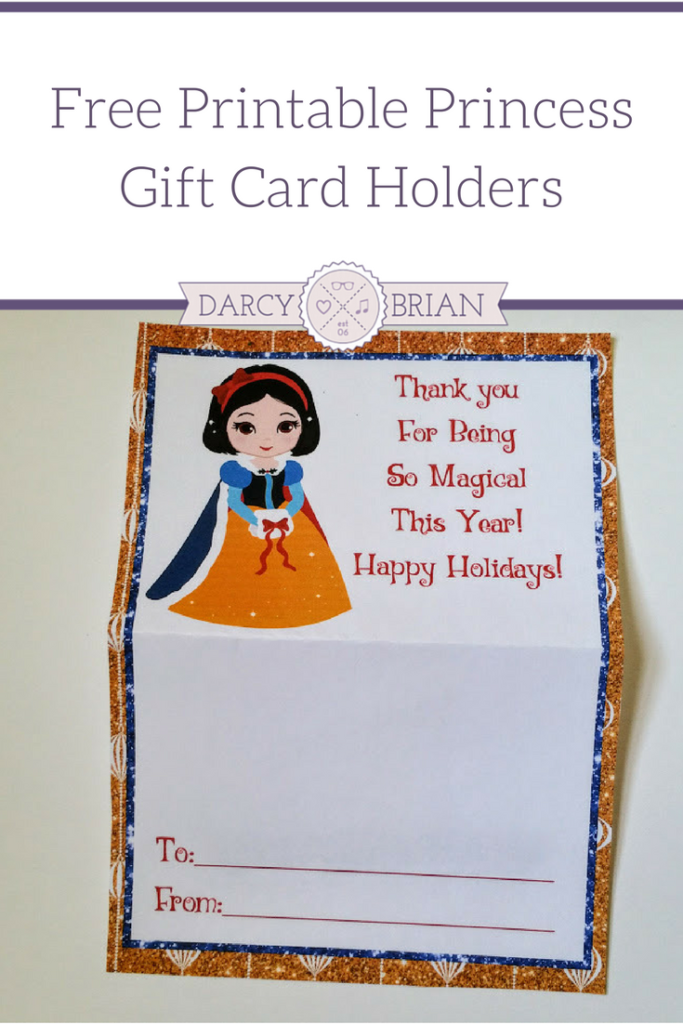 Have a little Disney princess fan on your list? These free Holiday Princess Printable Gift Card Holders are a cute way to give kids gift cards, tickets, or passes for Christmas. Great for last minute gift giving too!