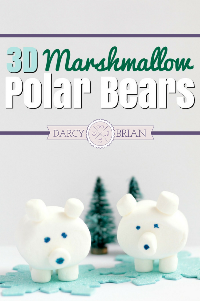 Are the kids stuck inside on a cold, snowy day? Do you need a fun and easy boredom buster? Click through to see step-by-step instructions to make this 3D edible marshmallow polar bear craft with your kids. Perfect with a cup of hot chocolate!