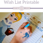 Your kids will enjoy writing out their Christmas wish list on this free printable featuring an adorable Disney princess - Cinderella. Great writing activity for kids and a fun way for them to share the Christmas gifts they hope to receive during the holidays.