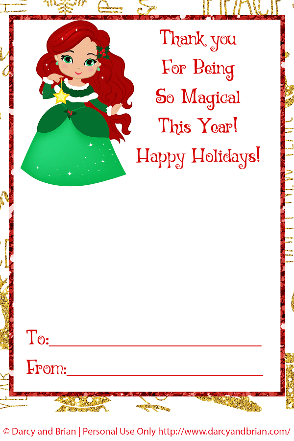 Preview image of Ariel inspired printable gift card holder