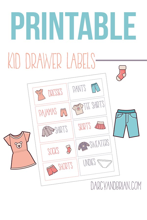 Preview of clothing drawer printable labels