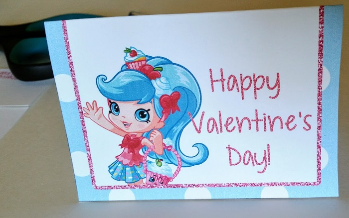 Print out these fun Shopkins themed Valentines for school.