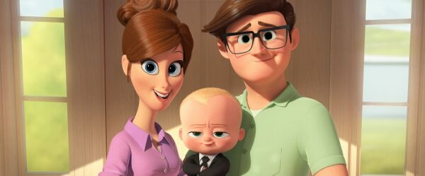 The Boss Baby promotional image - Parents introduce Boss Baby to their son, Tim.