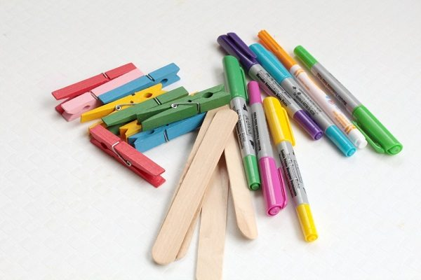 Supplies to make your own color match game for kids.
