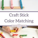 Preschoolers and toddlers will love playing with this Popsicle stick fine motor color match game. Matching colors is a fun activity for little ones to play with and makes a great busy bag activity. Boost fine motor skills and color recognition skills with this color match game!