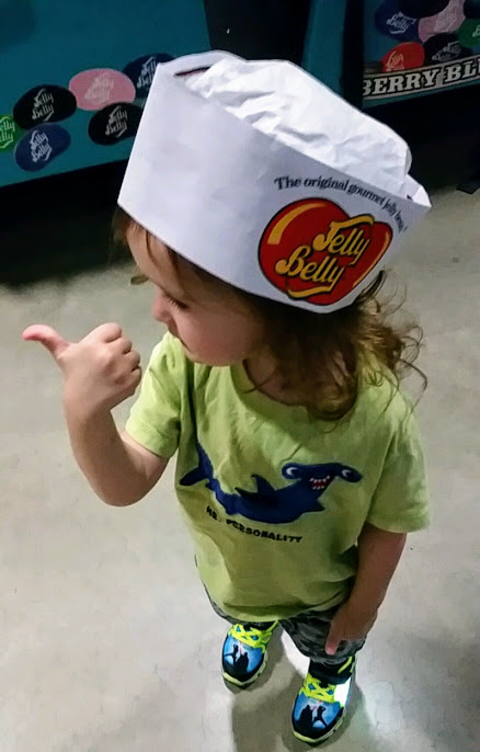 Our son at the Jelly Belly warehouse tour.