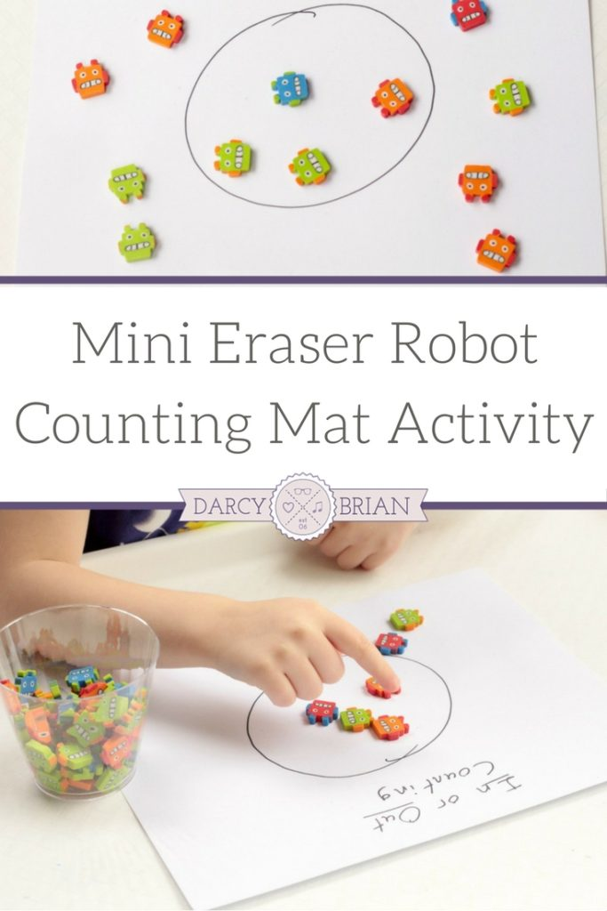 Looking for fun and easy learning activities for preschoolers? This Mini Eraser Robot Counting Mat Activity is a hands-on activity that teaches counting and math skills. It is super simple to set up and your kids will have a blast playing!