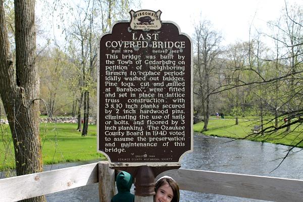 Wisconsin Historical Marker for Covered Bridge Park