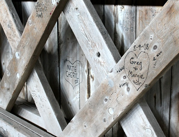 More initials carved into the wood on the bridge